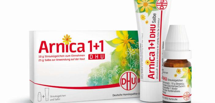 Das homöopathische Arzneimittel Arnica 1 plus 1 (Foto: DHU)