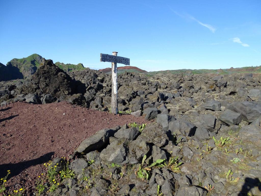 Island Heimaey Lavafeld mit Straßenwegweiser