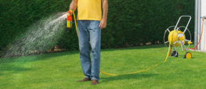 Mann wässert den Rasen