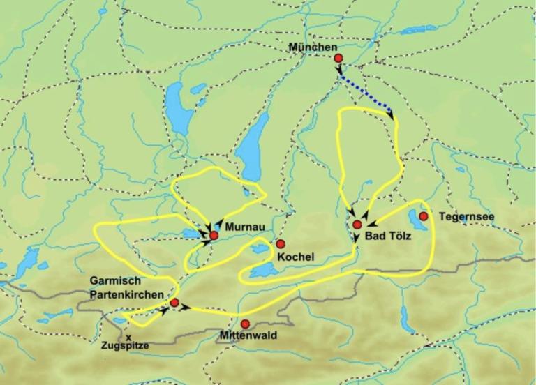 Karte für Radtouren durch Bayern